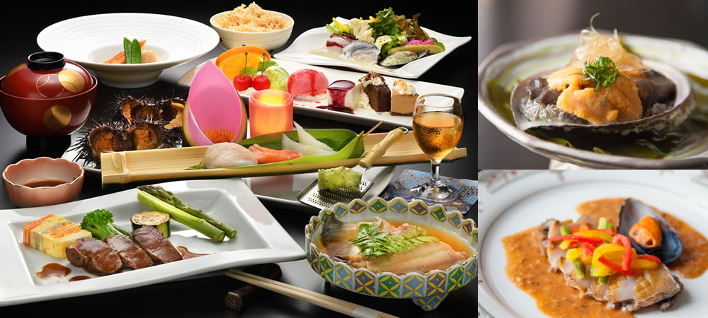 本格和洋折衷料理・うに・あわびなど地元の魚介類や海産物、有機野菜など岩手・田老の味をお愉しみいただけます。