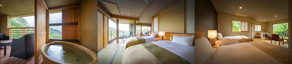 客室は「太郎の庵」「次郎の庵」「三郎の庵」の3つの棟から成り、それぞれ表情の違うお部屋をご用意しております。